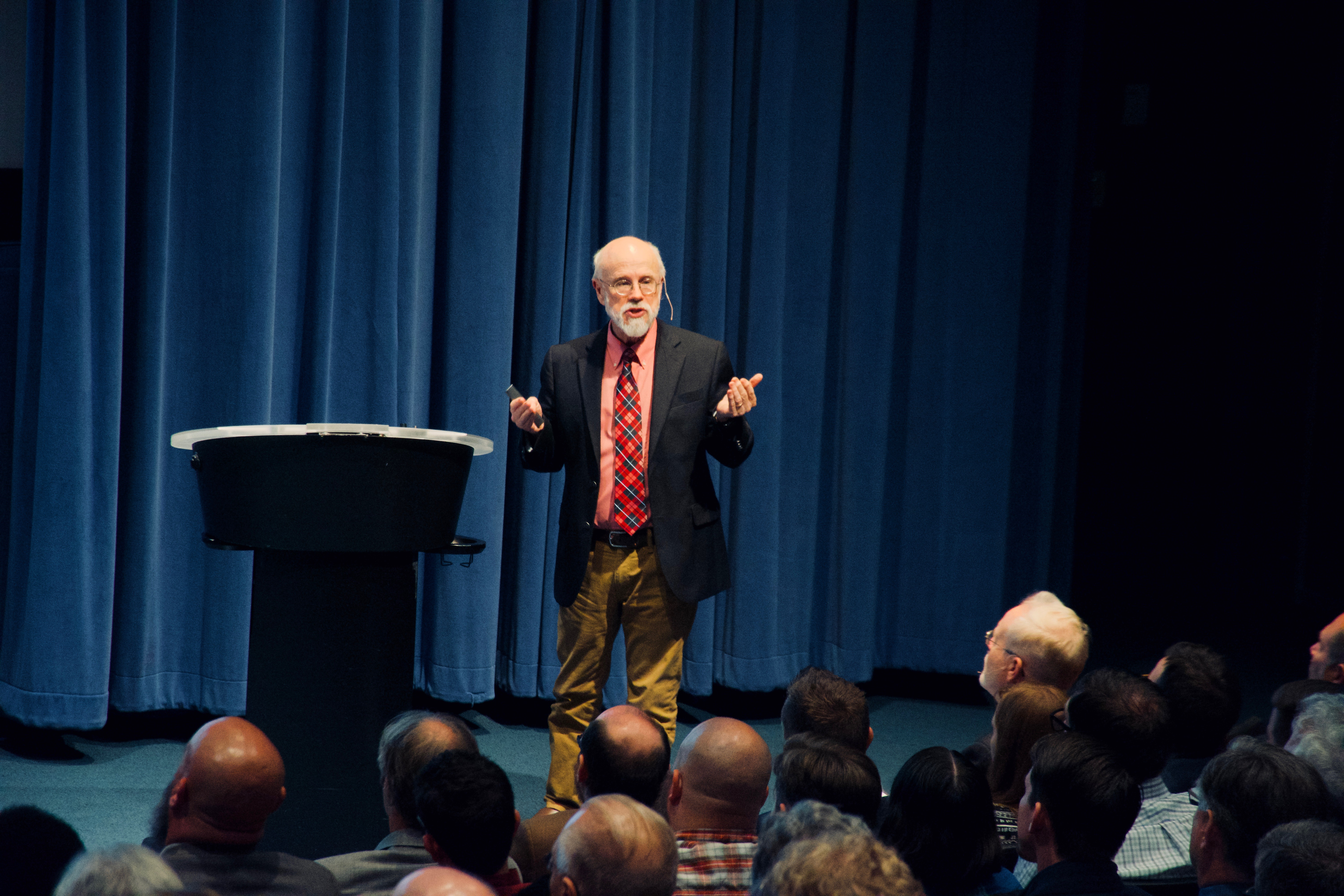 Michael Behe shares the main theses of Darwin Devolves at the Nesholm Family Lecture Hall in McCaw Hall at Seattle Center on July 10, 2019.