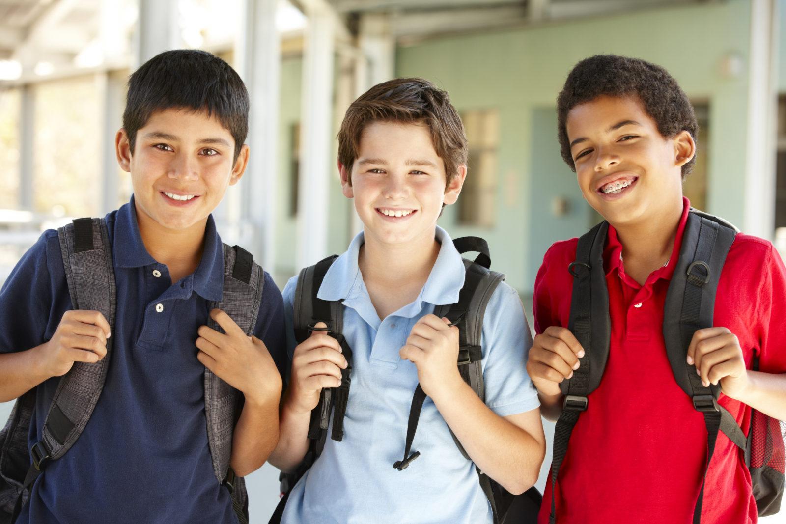 Pre teen boys at school