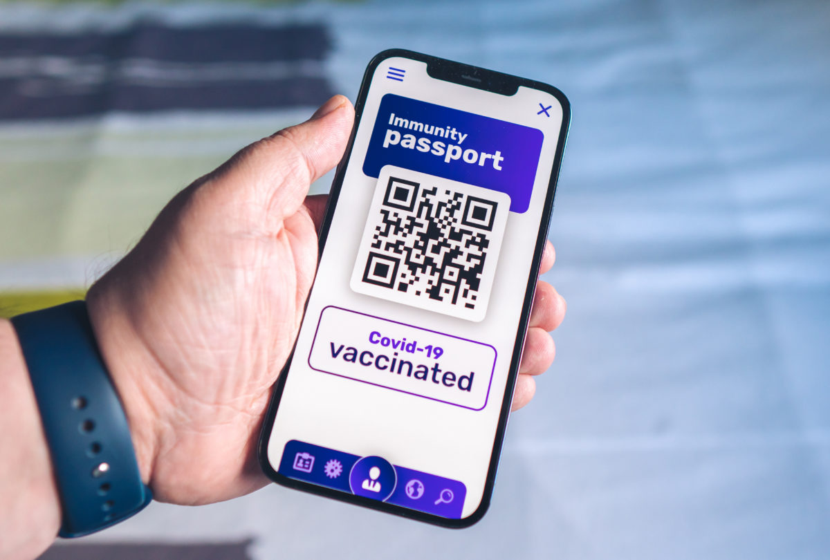 Vaccination passport on a mobile phone allowing movement and travel - Vaccination against the coronavirus Covid 19 - Imunity passport - Health passport