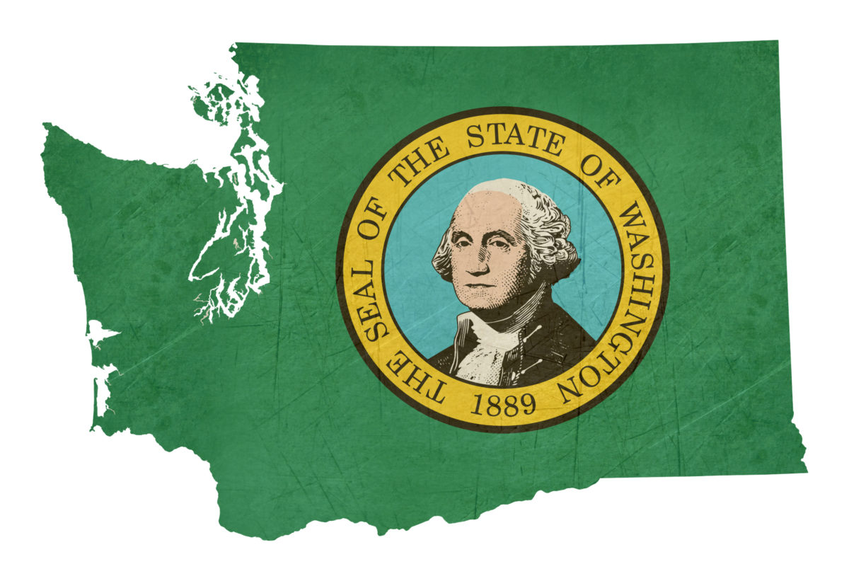 Grunge state of Washington flag map isolated on a white background, U.S.A.